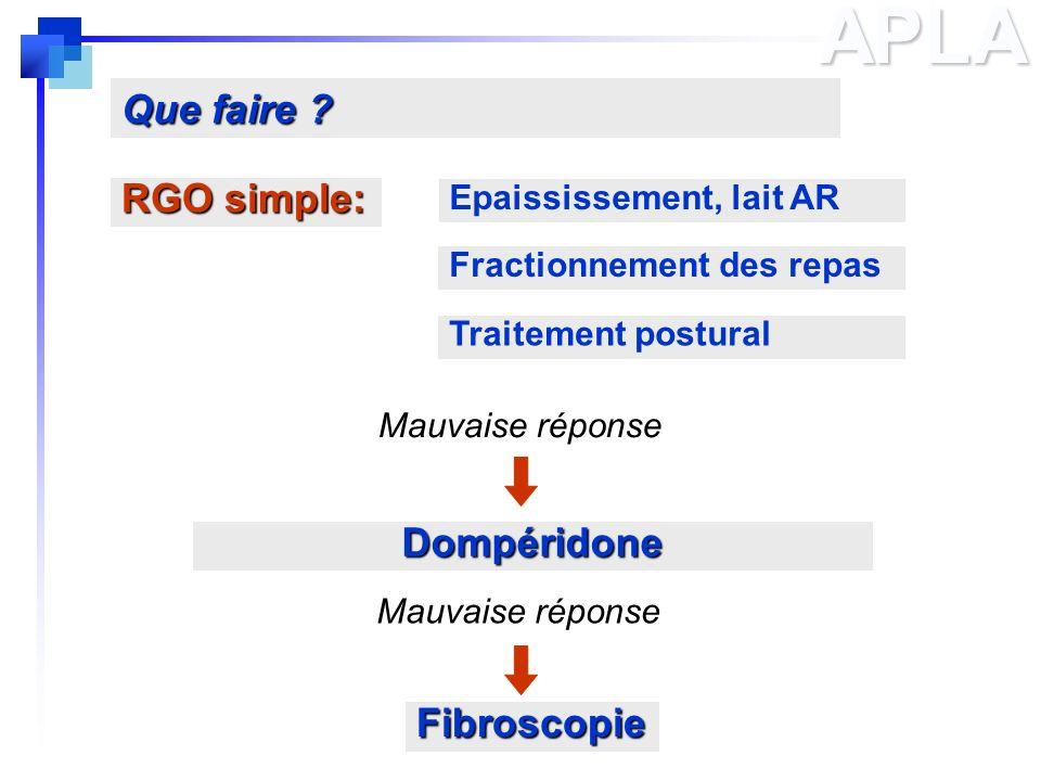 APLA RGO simple: Que faire ? Epaississement, lait AR Fractionnement des repas Traitement postural Dompéridone Fibroscopie Mauvaise réponse