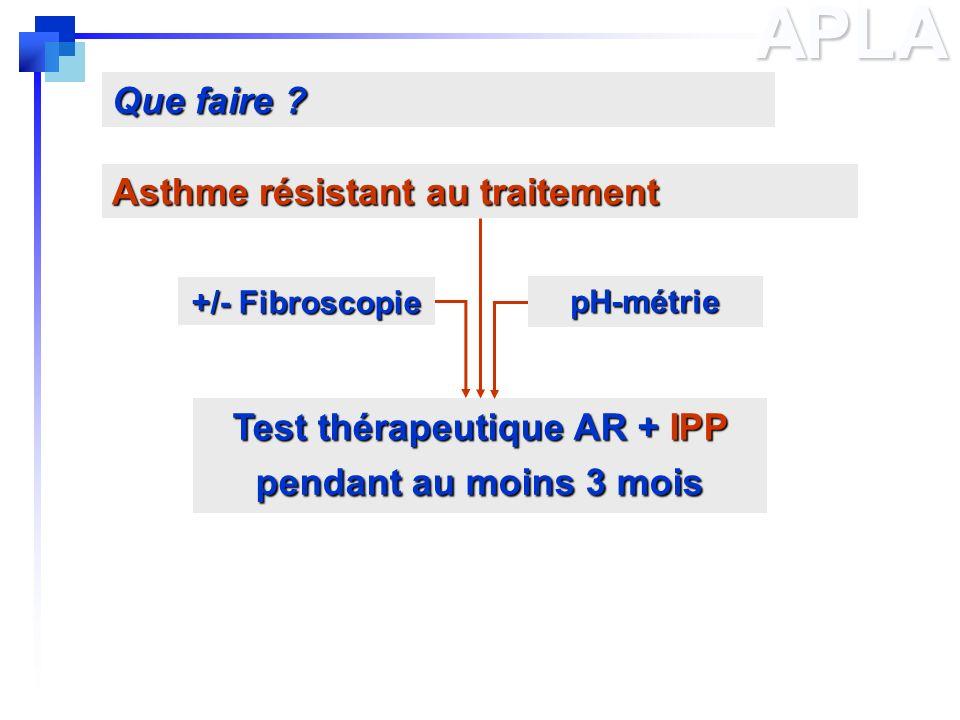 APLA Asthme résistant au traitement Que faire ? Test thérapeutique AR + IPP pendant au moins 3 mois +/- Fibroscopie pH-métrie