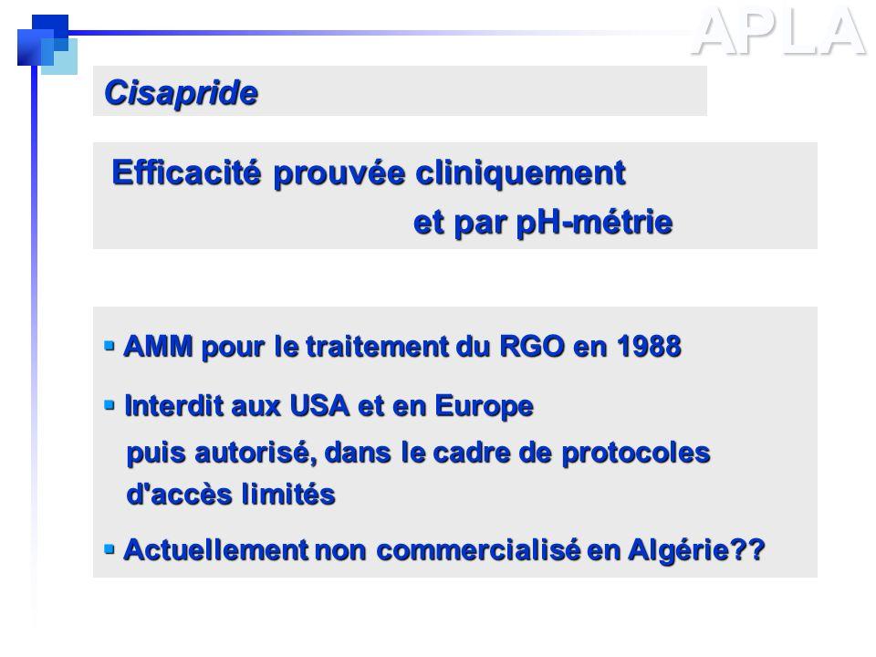 APLA AMM pour le traitement du RGO en 1988 AMM pour le traitement du RGO en 1988 Interdit aux USA et en Europe Interdit aux USA et en Europe puis auto