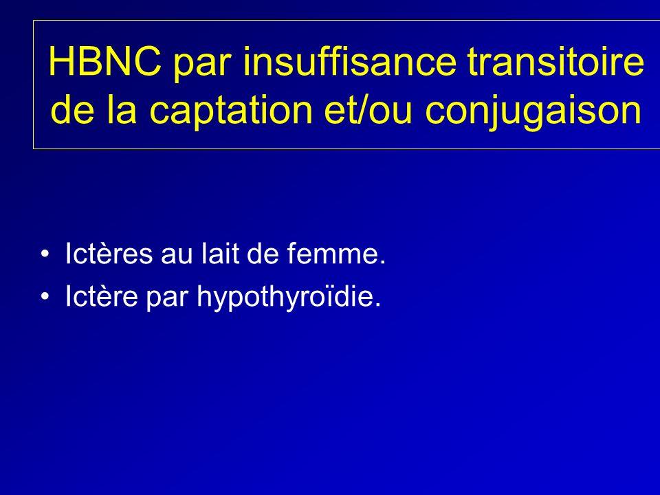 HBNC par insuffisance transitoire de la captation et/ou conjugaison Ictères au lait de femme. Ictère par hypothyroïdie.