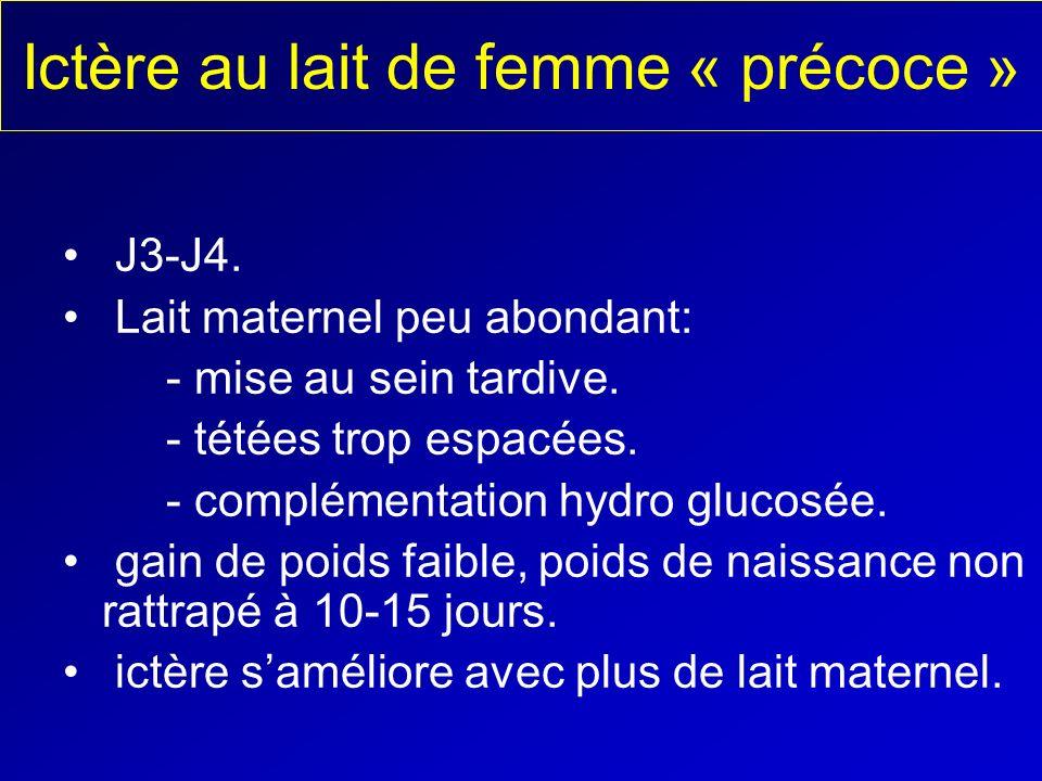 Ictère au lait de femme « précoce » J3-J4. Lait maternel peu abondant: - mise au sein tardive. - tétées trop espacées. - complémentation hydro glucosé