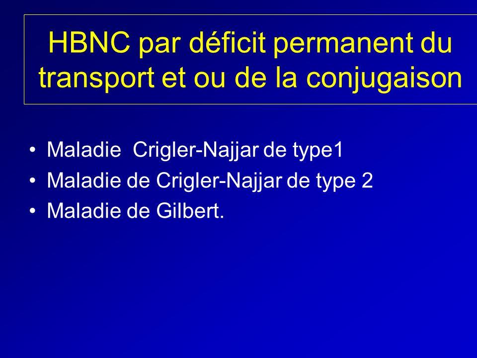 HBNC par déficit permanent du transport et ou de la conjugaison Maladie Crigler-Najjar de type1 Maladie de Crigler-Najjar de type 2 Maladie de Gilbert