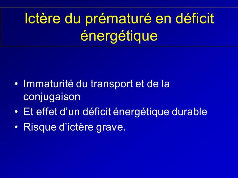 Ictère du prématuré en déficit énergétique Immaturité du transport et de la conjugaison Et effet dun déficit énergétique durable Risque dictère grave.