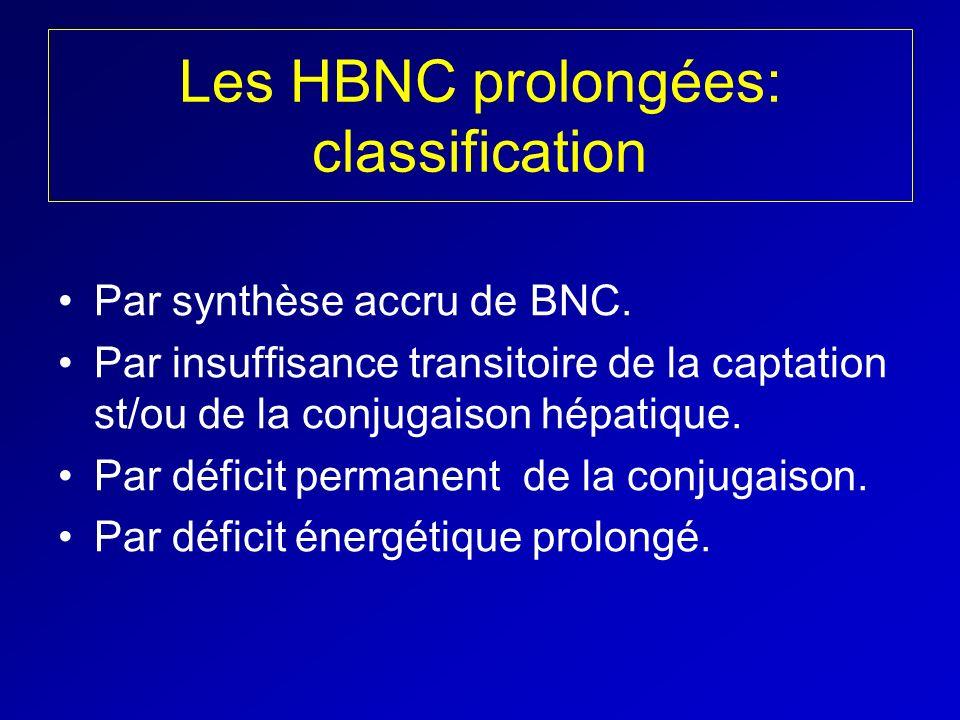 Les HBNC prolongées: classification Par synthèse accru de BNC. Par insuffisance transitoire de la captation st/ou de la conjugaison hépatique. Par déf
