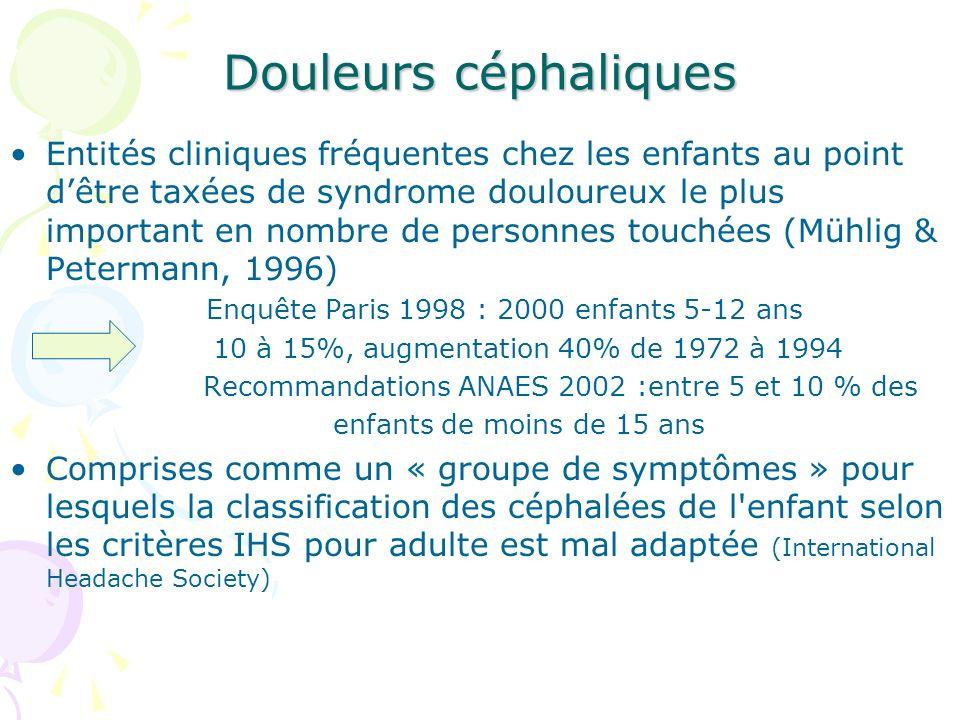 Douleurs céphaliques Entités cliniques fréquentes chez les enfants au point dêtre taxées de syndrome douloureux le plus important en nombre de personn