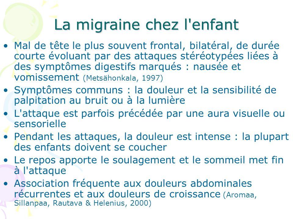 La migraine chez l'enfant Mal de tête le plus souvent frontal, bilatéral, de durée courte évoluant par des attaques stéréotypées liées à des symptômes