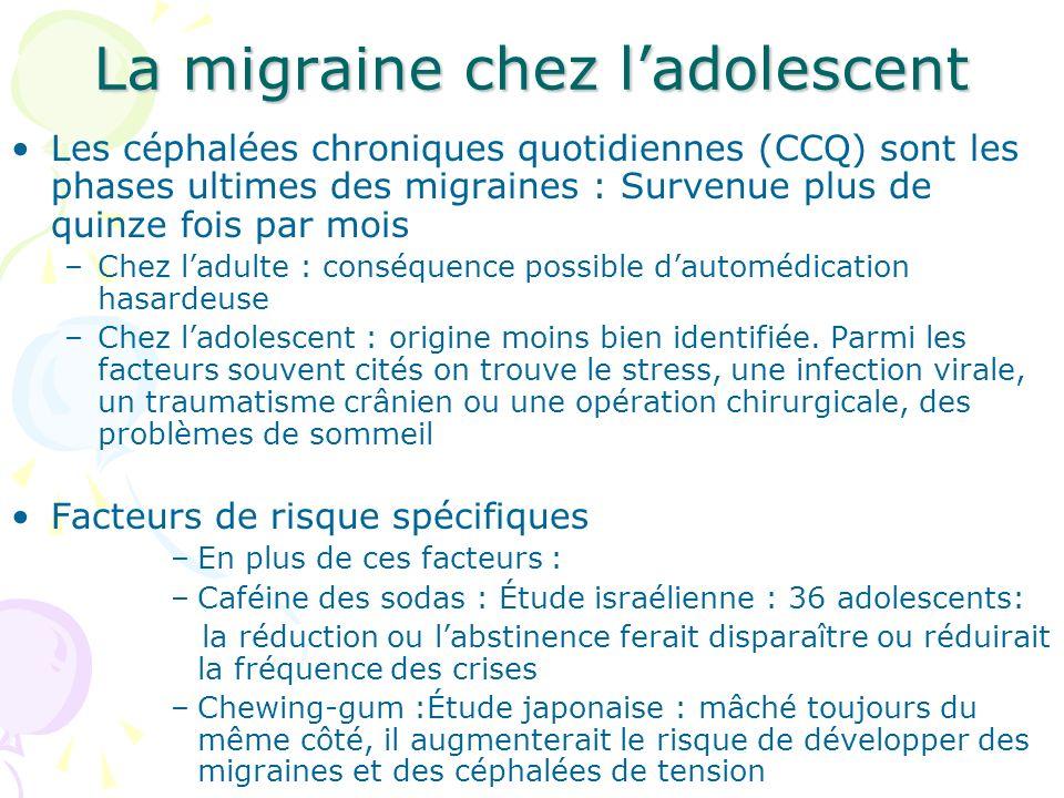 La migraine chez ladolescent Les céphalées chroniques quotidiennes (CCQ) sont les phases ultimes des migraines : Survenue plus de quinze fois par mois