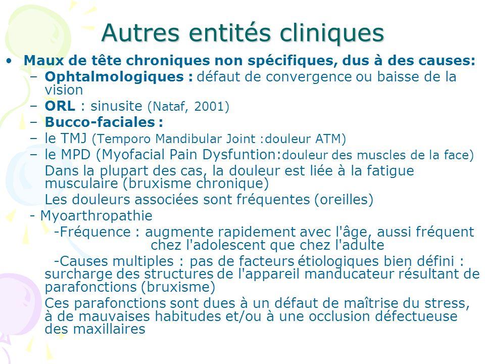 Autres entités cliniques Maux de tête chroniques non spécifiques, dus à des causes: –Ophtalmologiques : défaut de convergence ou baisse de la vision –
