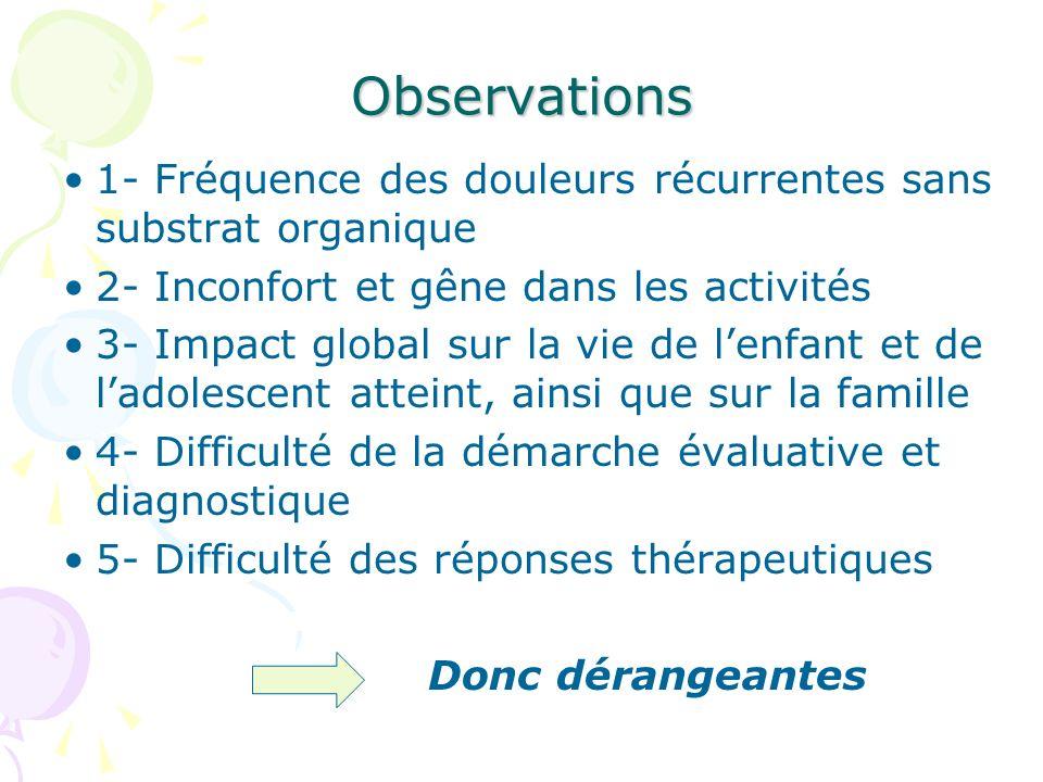 Observations 1- Fréquence des douleurs récurrentes sans substrat organique 2- Inconfort et gêne dans les activités 3- Impact global sur la vie de lenf