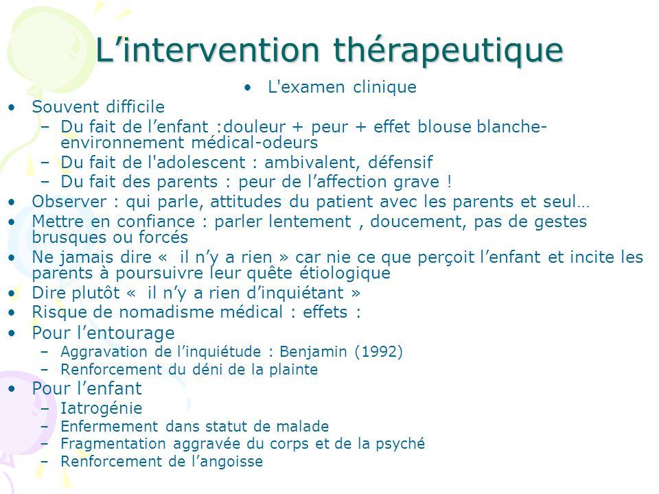 Lintervention thérapeutique L'examen clinique Souvent difficile –Du fait de lenfant :douleur + peur + effet blouse blanche- environnement médical-odeu