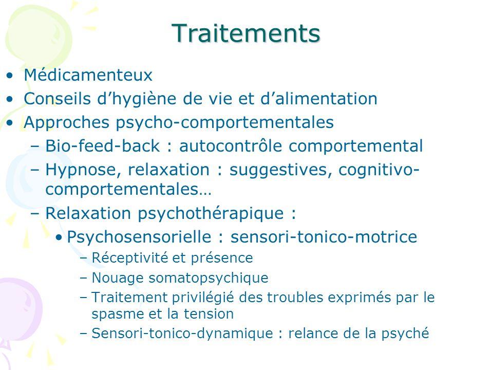 Traitements Médicamenteux Conseils dhygiène de vie et dalimentation Approches psycho-comportementales –Bio-feed-back : autocontrôle comportemental –Hy