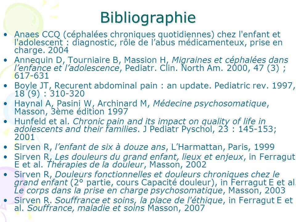 Bibliographie Anaes CCQ (céphalées chroniques quotidiennes) chez l'enfant et l'adolescent : diagnostic, rôle de labus médicamenteux, prise en charge.