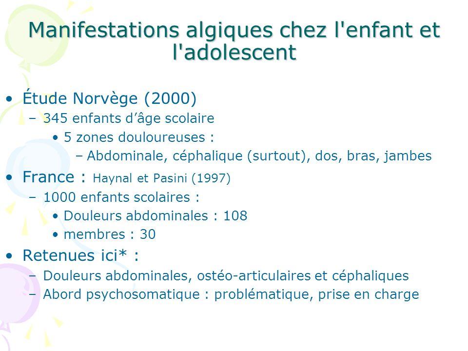 Les douleurs abdominales On note : 1°- Leur extrême banalité : 10 à 15% des enfants (Aplay, 1958, Farrell, 1984, Heyman 1998).