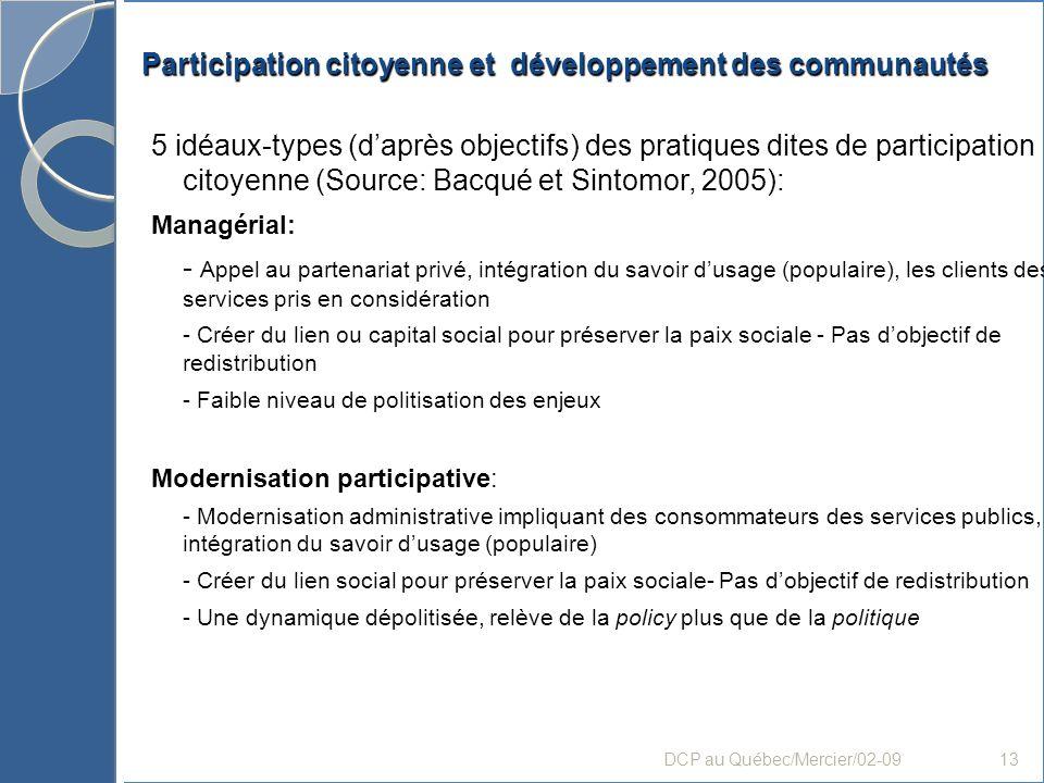 Participation citoyenne et développement des communautés 5 idéaux-types (daprès objectifs) des pratiques dites de participation citoyenne (Source: Bac