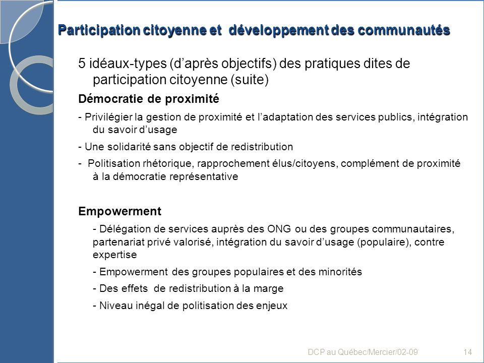 Participation citoyenne et développement des communautés 5 idéaux-types (daprès objectifs) des pratiques dites de participation citoyenne (suite) Démo