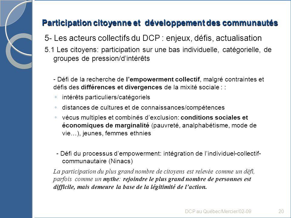 Participation citoyenne et développement des communautés 5- Les acteurs collectifs du DCP : enjeux, défis, actualisation 5.1 Les citoyens: participati
