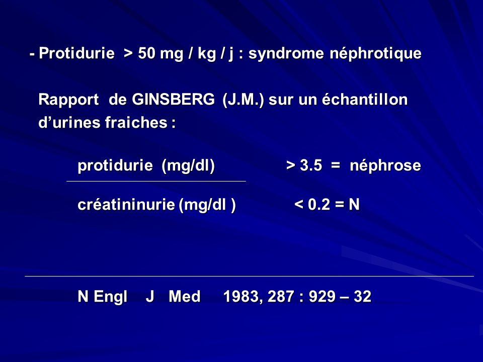 - Protidurie > 50 mg / kg / j : syndrome néphrotique Rapport de GINSBERG (J.M.) sur un échantillon Rapport de GINSBERG (J.M.) sur un échantillon durin