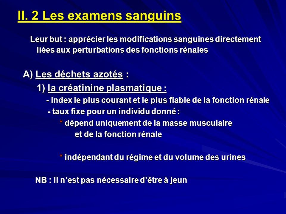 II. 2 Les examens sanguins Leur but : apprécier les modifications sanguines directement liées aux perturbations des fonctions rénales Leur but : appré