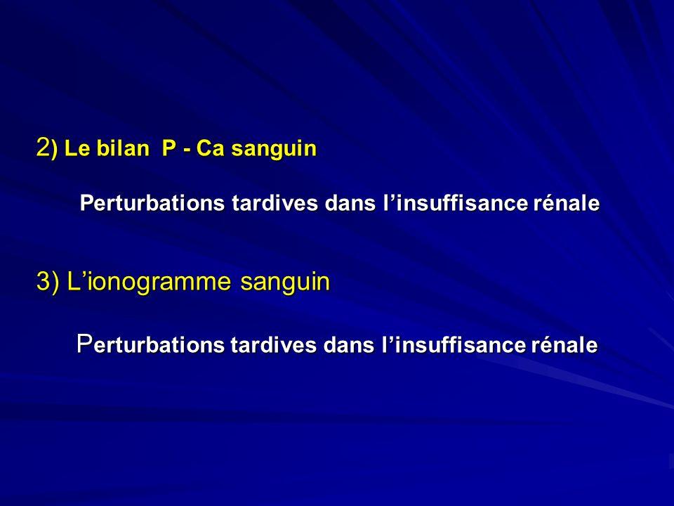 2 ) Le bilan P - Ca sanguin Perturbations tardives dans linsuffisance rénale Perturbations tardives dans linsuffisance rénale 3) Lionogramme sanguin P