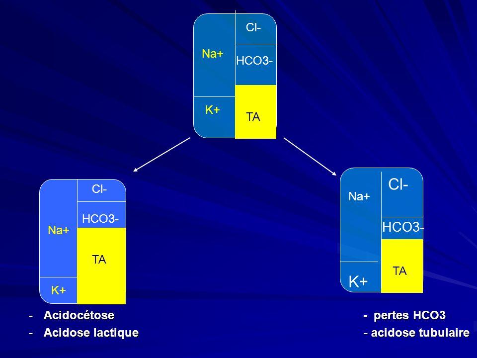 -Acidocétose - pertes HCO3 -Acidose lactique - acidose tubulaire Na+ K+ Cl- HCO3- TA Na+ K+ Cl- HCO3- TA Cl- TA Na+ K+ HCO3-