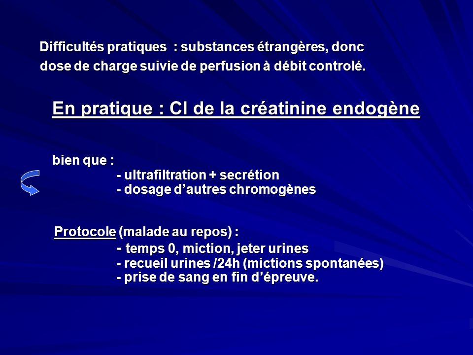 Difficultés pratiques : substances étrangères, donc dose de charge suivie de perfusion à débit controlé. dose de charge suivie de perfusion à débit co