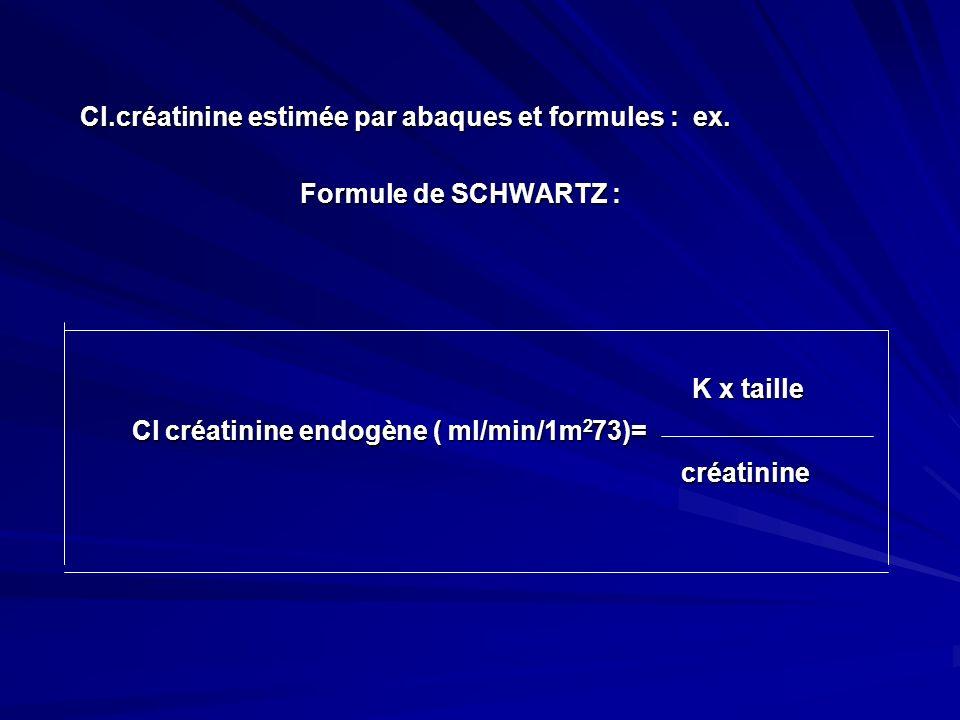 Cl.créatinine estimée par abaques et formules : ex. Cl.créatinine estimée par abaques et formules : ex. Formule de SCHWARTZ : Formule de SCHWARTZ : K