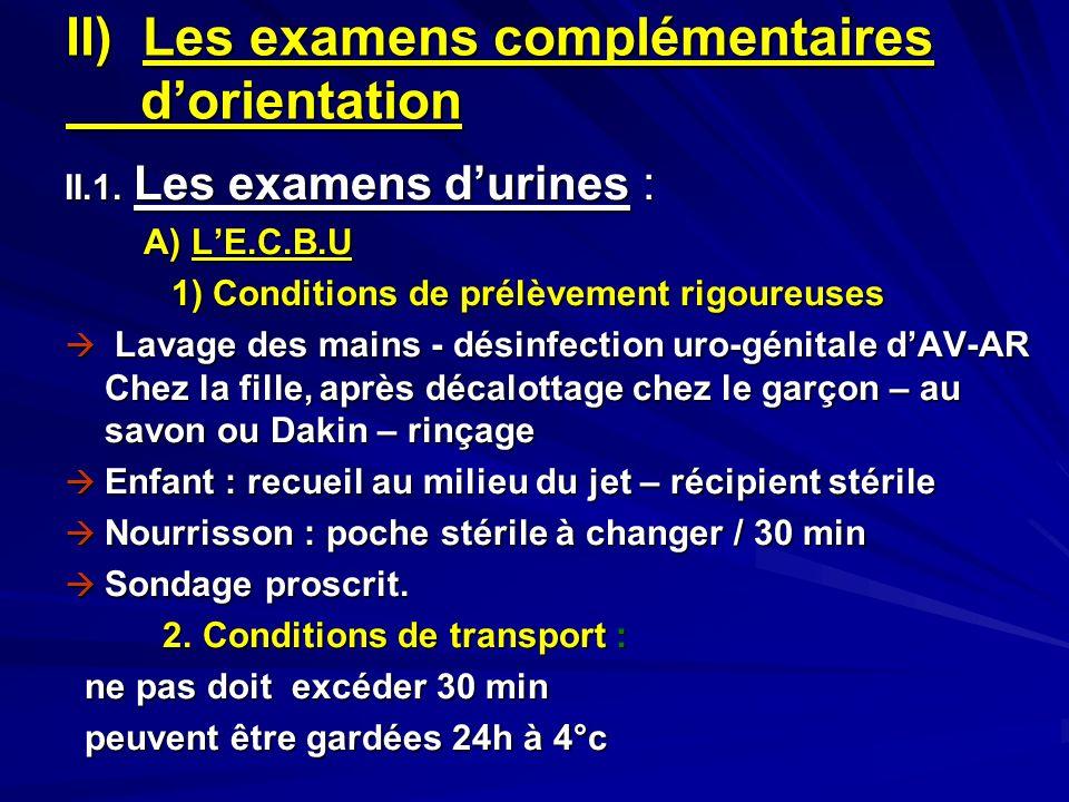 II) Les examens complémentaires dorientation II.1. Les examens durines : A) LE.C.B.U A) LE.C.B.U 1) Conditions de prélèvement rigoureuses Lavage des m