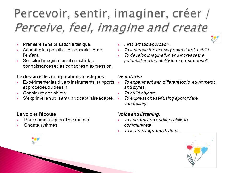 Première sensibilisation artistique. Accroître les possibilités sensorielles de lenfant. Solliciter limagination et enrichir les connaissances et les