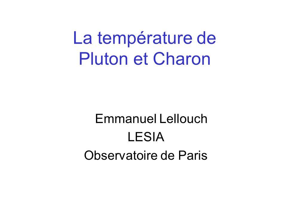 Introduction Température de surface : –rôle pour les échanges surface/atmosphère (cycles sublimation/condensation, transport de volatils) aspect visuel de Pluton –Composition atmosphérique (abondance de CH 4 ) Volatils en surface: N 2 (+CO+CH 4 ), CH 4 Douté et al.