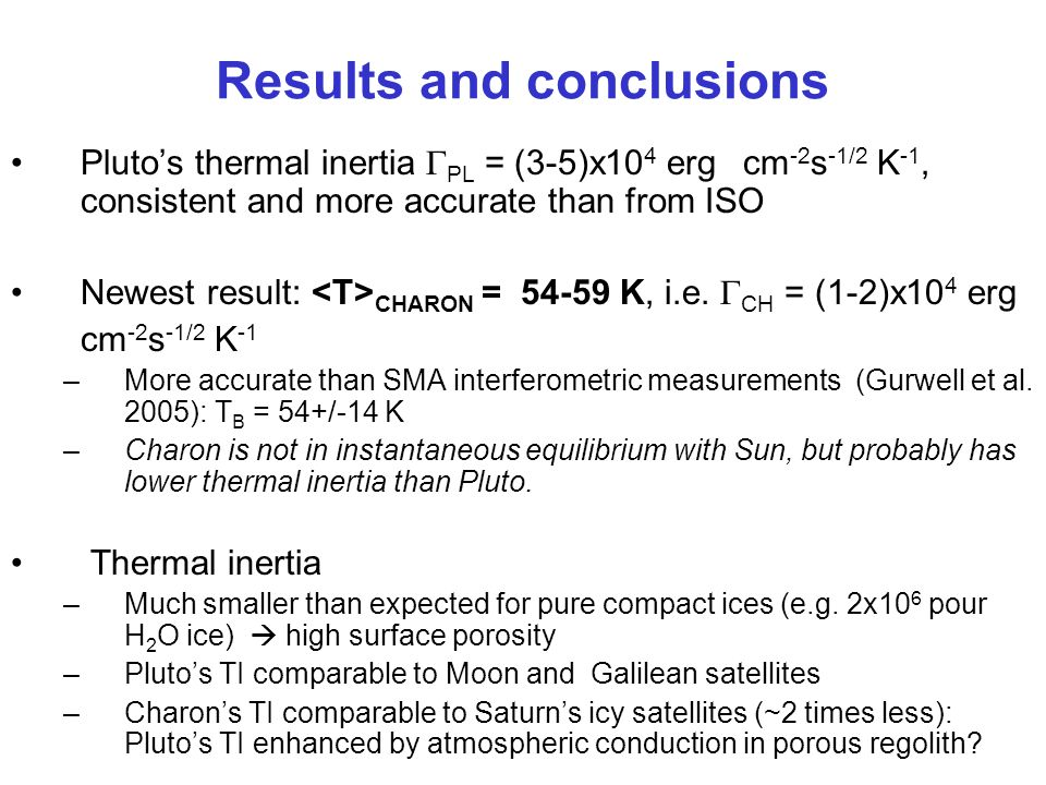 Results and conclusions Plutos thermal inertia PL = (3-5)x10 4 erg cm -2 s -1/2 K -1, consistent and more accurate than from ISO Newest result: CHARON