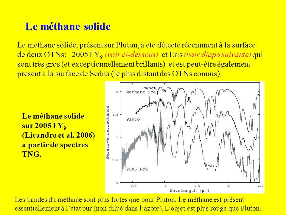 Le méthane solide Le méthane solide, présent sur Pluton, a été détecté récemment à la surface de deux OTNs: 2005 FY 9 (voir ci-dessous) et Eris (voir