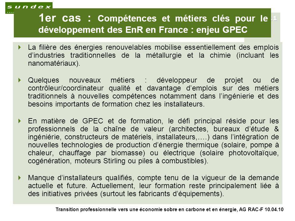 Transition professionnelle vers une économie sobre en carbone et en énergie, AG RAC-F 10.04.10 11 1er cas : Compétences et métiers clés pour le développement des EnR en France : enjeu GPEC La filière des énergies renouvelables mobilise essentiellement des emplois dindustries traditionnelles de la métallurgie et la chimie (incluant les nanomatériaux).