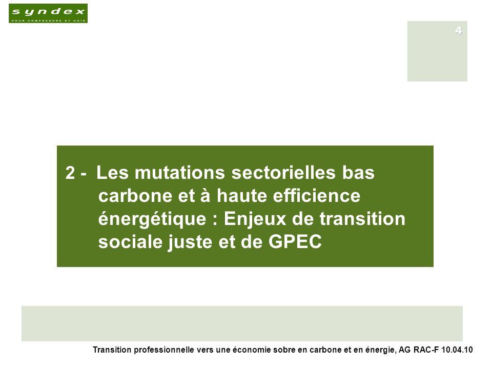 Transition professionnelle vers une économie sobre en carbone et en énergie, AG RAC-F 10.04.10 4 2 - Les mutations sectorielles bas carbone et à haute efficience énergétique : Enjeux de transition sociale juste et de GPEC