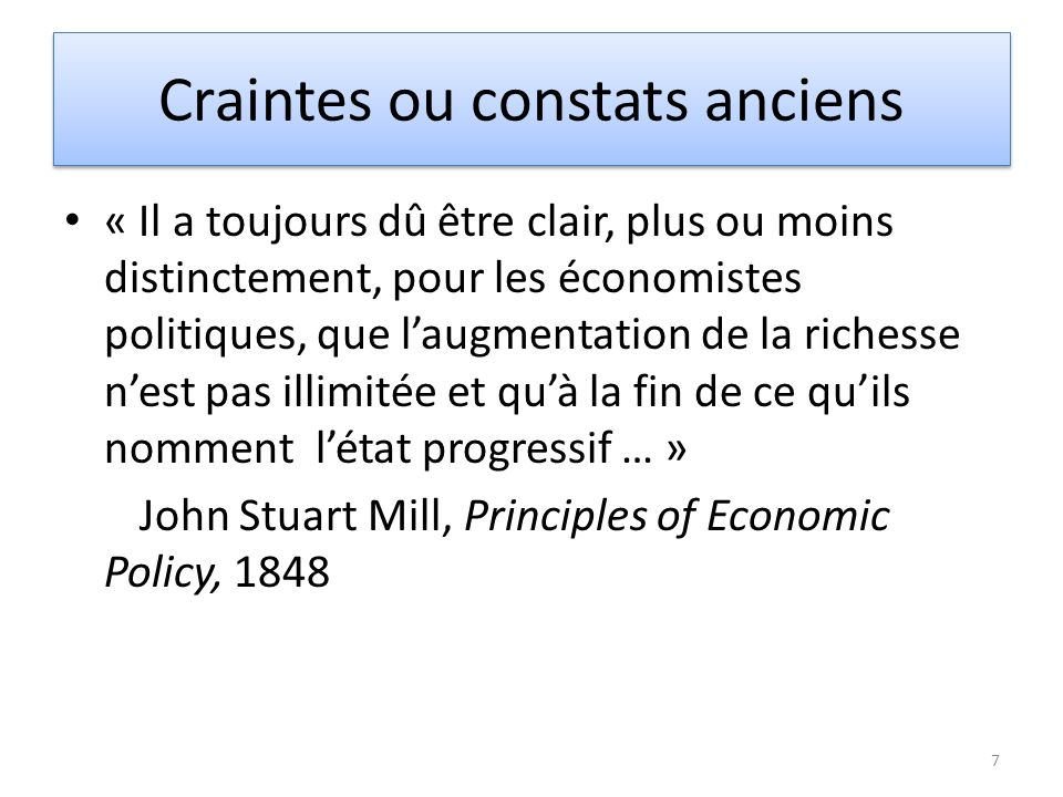Craintes ou constats anciens 8 « Limites de la croissance: un rapport pour le Club de Rome », Donella Meadows, MIT, 1972 « Notre futur commun », World commission on Environment & Development, 1987 « The Growth Illusion: how… », Douthwaite & Goldsmith, 1992 « Sustainable development: prosperity without growth », Kinsley, 1997 « Limits to Growth: the 30 year update », Donella Meadows et al, 2004 « Prosperity without growth », Tim Jackson, 2009 (rapport pour UK Sustainable Development Commission)
