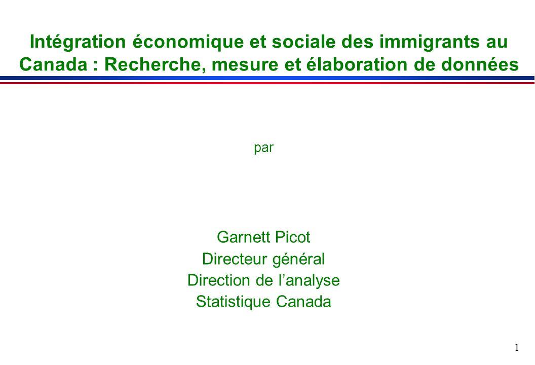 1 Intégration économique et sociale des immigrants au Canada : Recherche, mesure et élaboration de données par Garnett Picot Directeur général Direction de lanalyse Statistique Canada