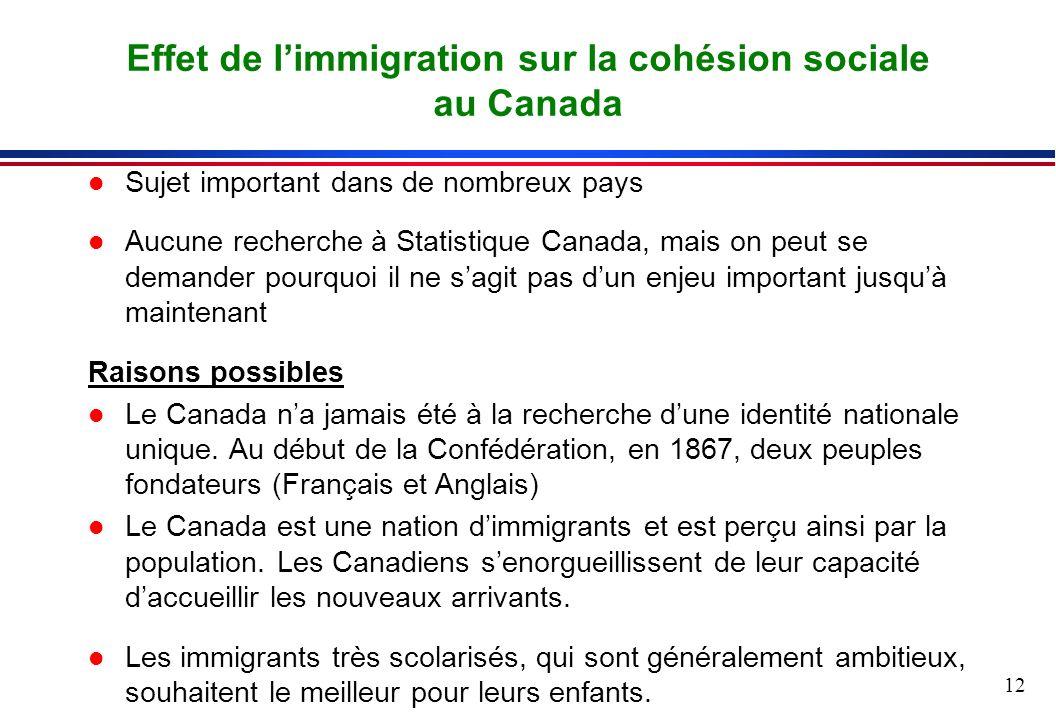 12 l Sujet important dans de nombreux pays l Aucune recherche à Statistique Canada, mais on peut se demander pourquoi il ne sagit pas dun enjeu important jusquà maintenant Raisons possibles l Le Canada na jamais été à la recherche dune identité nationale unique.