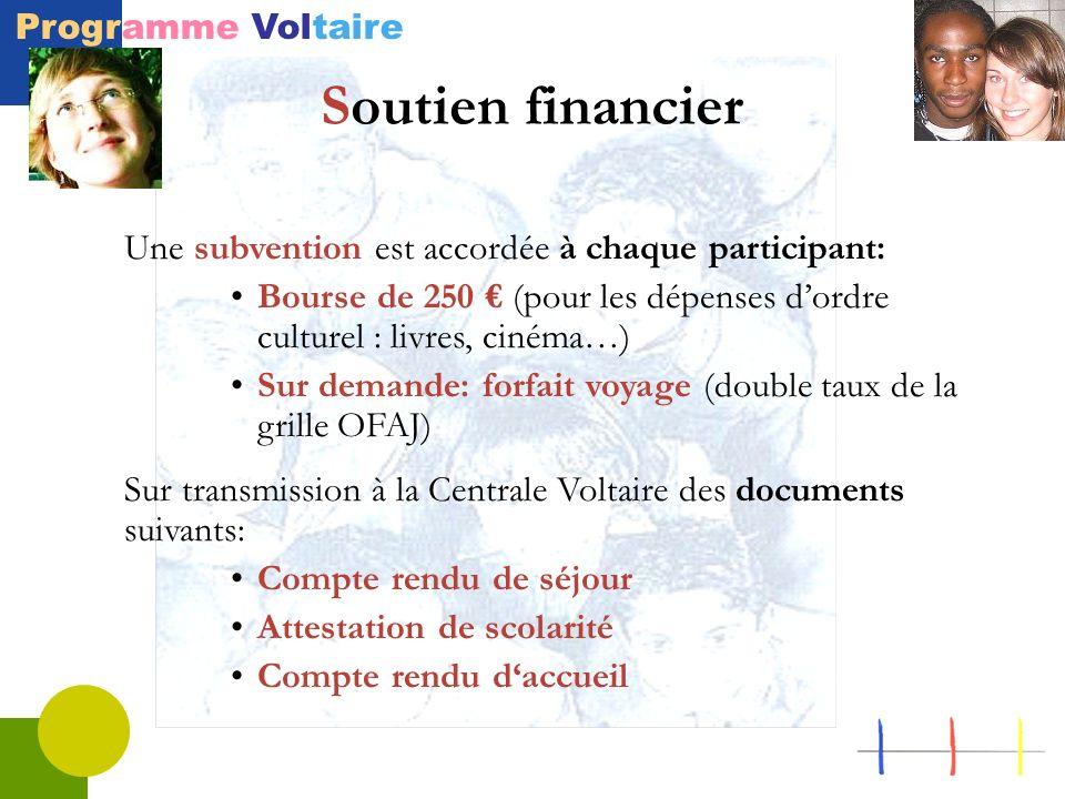 Programme Voltaire Soutien financier Une subvention est accordée à chaque participant: Bourse de 250 (pour les dépenses dordre culturel : livres, ciné