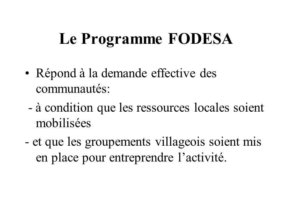 Le Programme FODESA Répond à la demande effective des communautés: - à condition que les ressources locales soient mobilisées - et que les groupements villageois soient mis en place pour entreprendre lactivité.
