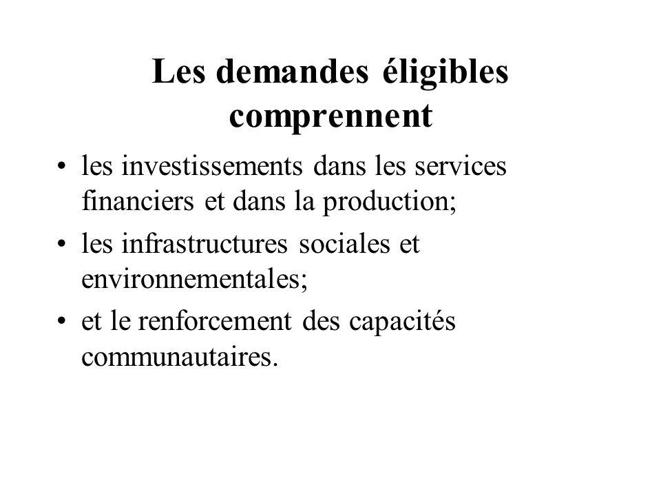 Les demandes éligibles comprennent les investissements dans les services financiers et dans la production; les infrastructures sociales et environnementales; et le renforcement des capacités communautaires.