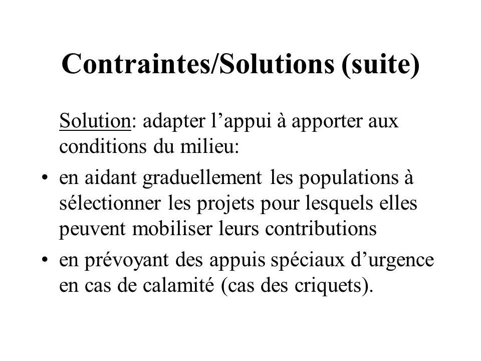 Contraintes/Solutions (suite) Solution: adapter lappui à apporter aux conditions du milieu: en aidant graduellement les populations à sélectionner les projets pour lesquels elles peuvent mobiliser leurs contributions en prévoyant des appuis spéciaux durgence en cas de calamité (cas des criquets).