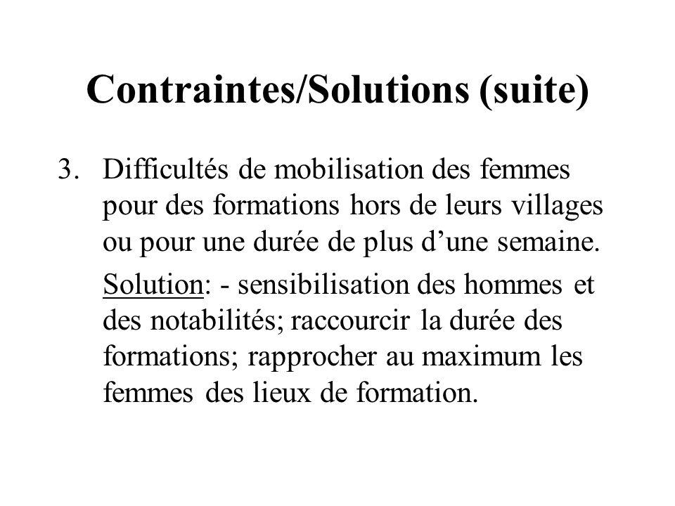 Contraintes/Solutions (suite) 3.Difficultés de mobilisation des femmes pour des formations hors de leurs villages ou pour une durée de plus dune semaine.