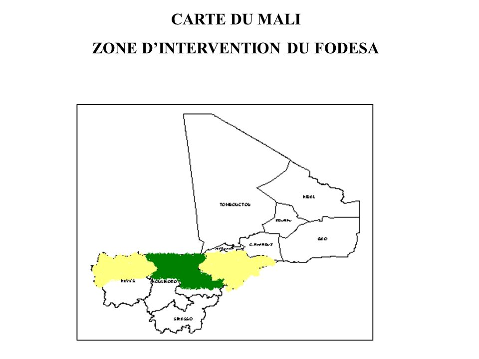 CARTE DU MALI ZONE DINTERVENTION DU FODESA