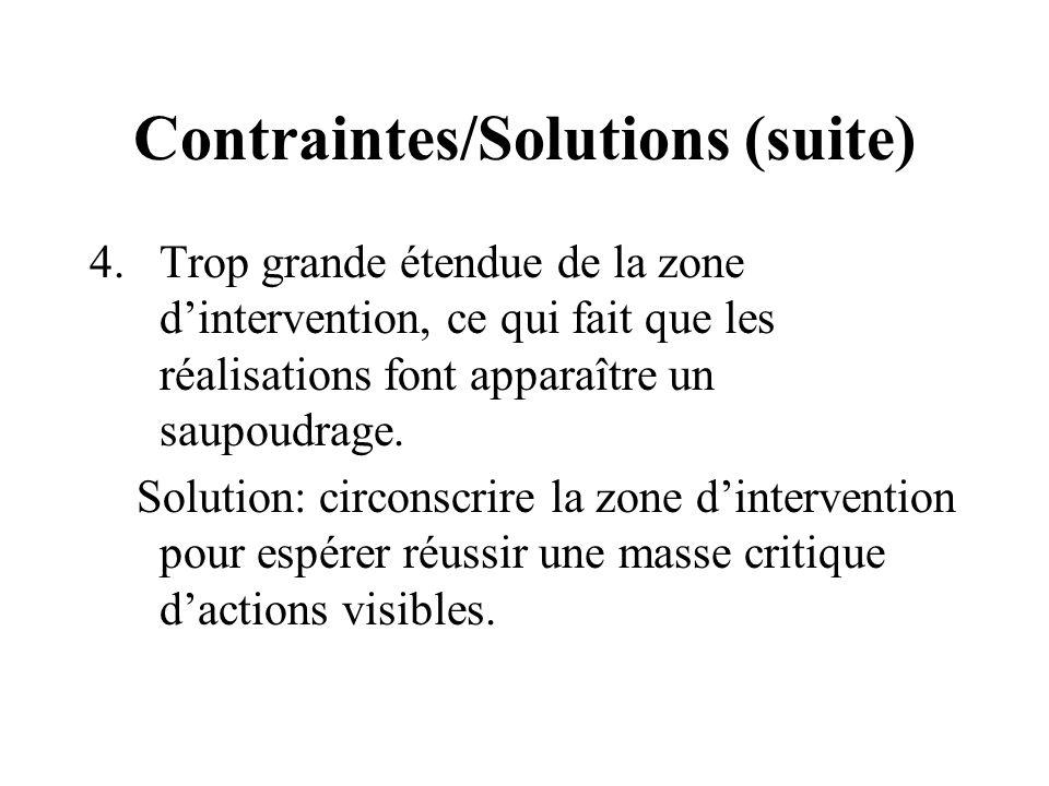Contraintes/Solutions (suite) 4.Trop grande étendue de la zone dintervention, ce qui fait que les réalisations font apparaître un saupoudrage.