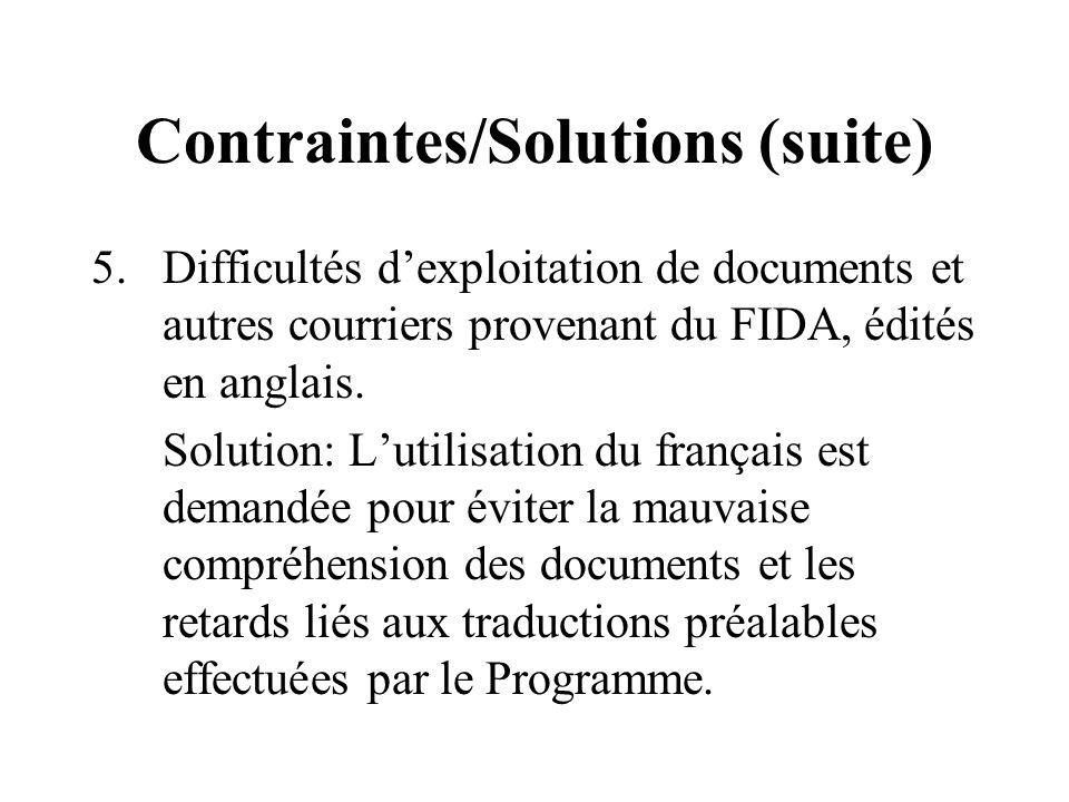 Contraintes/Solutions (suite) 5.Difficultés dexploitation de documents et autres courriers provenant du FIDA, édités en anglais.