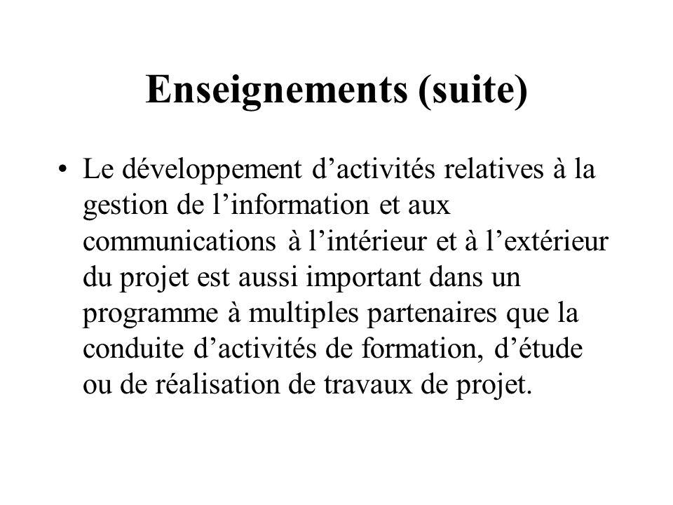 Enseignements (suite) Le développement dactivités relatives à la gestion de linformation et aux communications à lintérieur et à lextérieur du projet est aussi important dans un programme à multiples partenaires que la conduite dactivités de formation, détude ou de réalisation de travaux de projet.