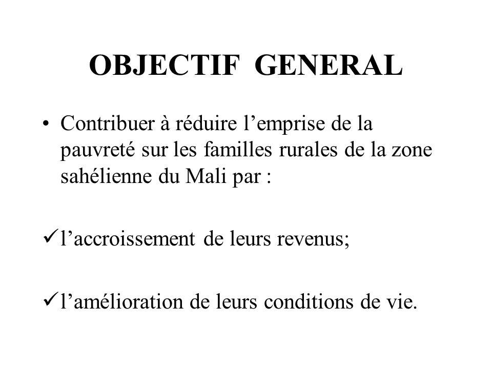 OBJECTIF GENERAL Contribuer à réduire lemprise de la pauvreté sur les familles rurales de la zone sahélienne du Mali par : laccroissement de leurs revenus; lamélioration de leurs conditions de vie.