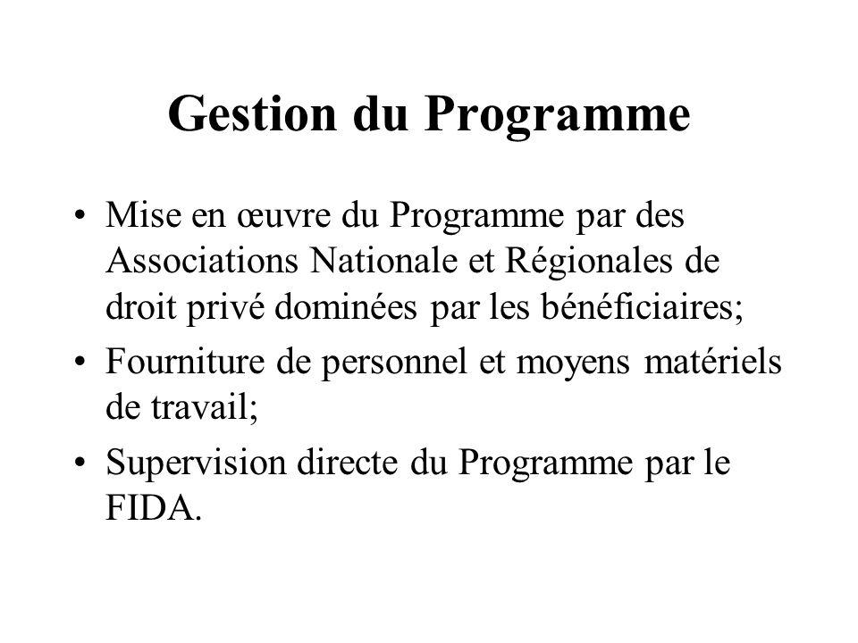 Gestion du Programme Mise en œuvre du Programme par des Associations Nationale et Régionales de droit privé dominées par les bénéficiaires; Fourniture de personnel et moyens matériels de travail; Supervision directe du Programme par le FIDA.