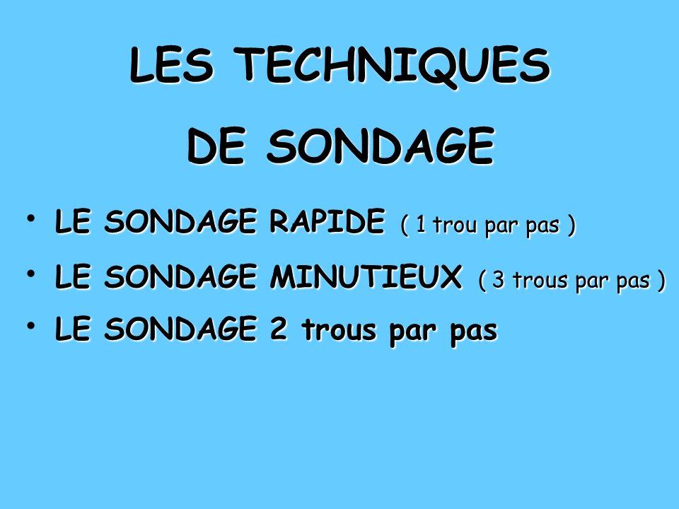 LES TECHNIQUES DE SONDAGE LE SONDAGE RAPIDE ( 1 trou par pas ) LE SONDAGE RAPIDE ( 1 trou par pas ) LE SONDAGE RAPIDE ( 1 trou par pas ) LE SONDAGE MINUTIEUX ( 3 trous par pas ) LE SONDAGE 2 trous par pas