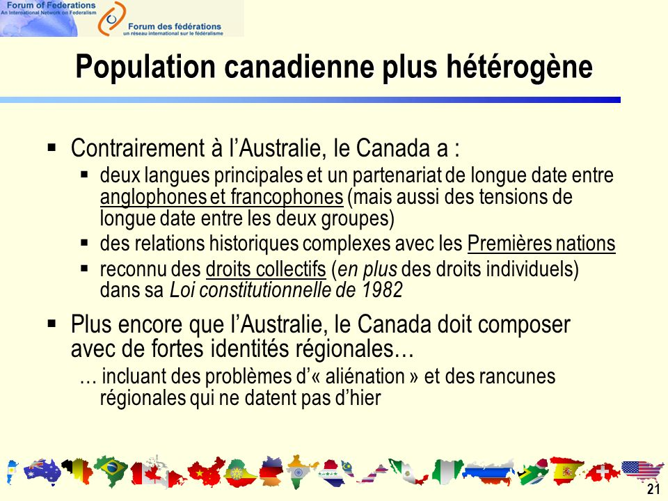 Population canadienne plus hétérogène 21 Contrairement à lAustralie, le Canada a : deux langues principales et un partenariat de longue date entre anglophones et francophones (mais aussi des tensions de longue date entre les deux groupes) des relations historiques complexes avec les Premières nations reconnu des droits collectifs ( en plus des droits individuels) dans sa Loi constitutionnelle de 1982 Plus encore que lAustralie, le Canada doit composer avec de fortes identités régionales… … incluant des problèmes d« aliénation » et des rancunes régionales qui ne datent pas dhier