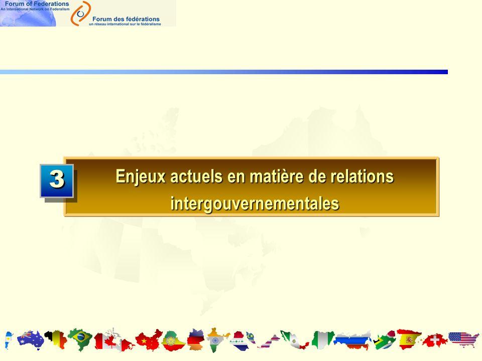 Enjeux actuels en matière de relations intergouvernementales 3 3